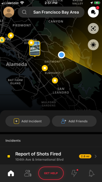 A screenshot of the Citizen crime app tracking a possible incident in Oakland, California.