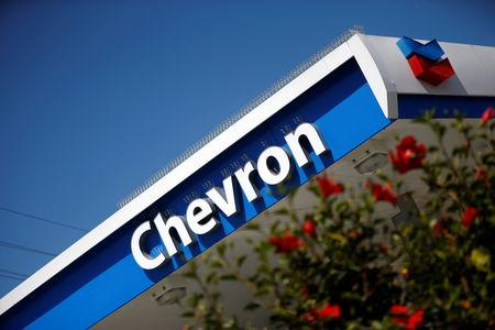 Dow Jones Industrial Average listed company Chevron (CVX)'s logo is seen in Los Angeles