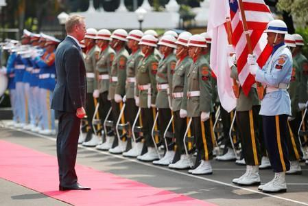 U.S. Defense Secretary Patrick Shanahan stands during a ceremony before his meeting with his Indonesian counterpart Ryamizard Ryacudu in Jakarta