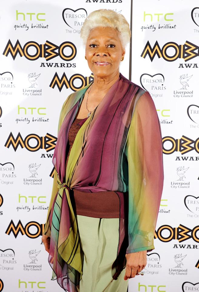 LIVERPOOL, ENGLAND - NOVEMBER 03:  Singer Dionne Warwick attends the 2012 MOBO awards at Echo Arena on November 3, 2012 in Liverpool, England.  (Photo by Shirlaine Forrest/Getty Images)