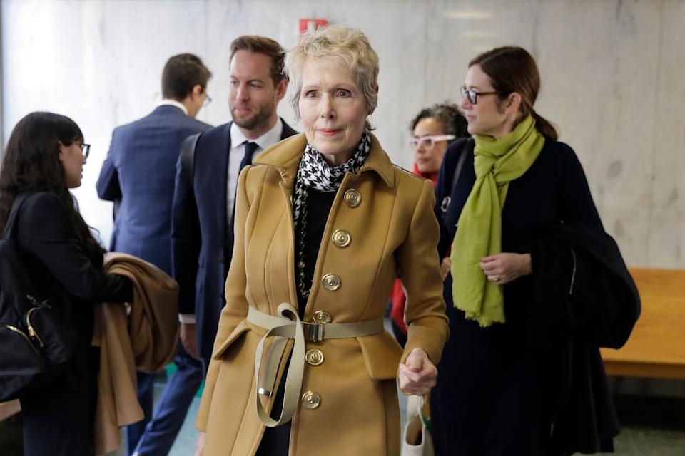 E. Jean Carroll waits to enter a courtroom in New York on March 4.  (Photo: AP Photo/Seth Wenig)