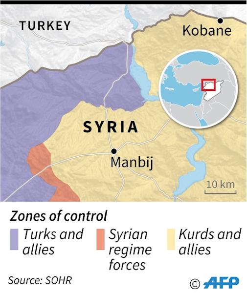 Map locating the city of Manbij, in Syria, and surrounding zones of control. (AFP Photo/Jonathan WALTER)