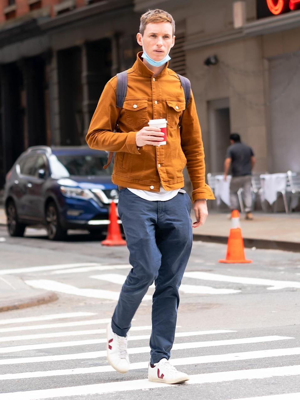 <p>Eddie Redmayne enjoys a cup of coffee during his day off from filming <em>The Good Nurse</em> on Wednesday in N.Y.C.</p>