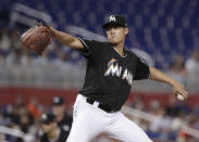 Miami Marlins starting pitcher Wei-Yin Chen delivers during the first inning of the team's baseball game against the Philadelphia Phillies, Friday, July 13, 2018, in Miami. (AP Photo/Lynne Sladky)