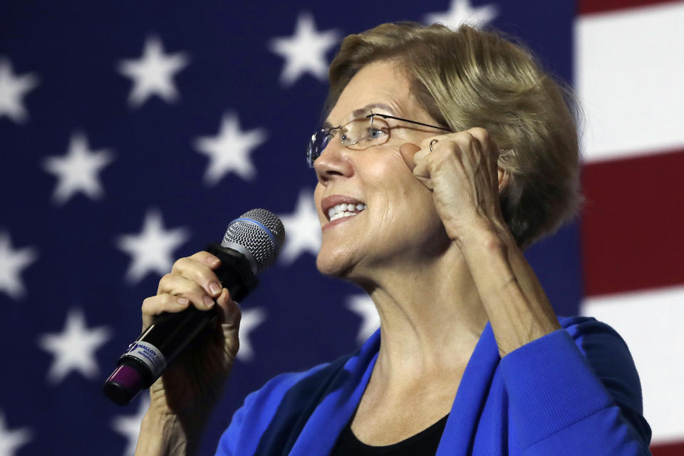 Democratic presidential candidate Sen. Elizabeth Warren, D-Mass., speaks at a campaign event on Oct. 29, 2019, in Laconia, N.H. (Photo: Elise Amendola/AP)