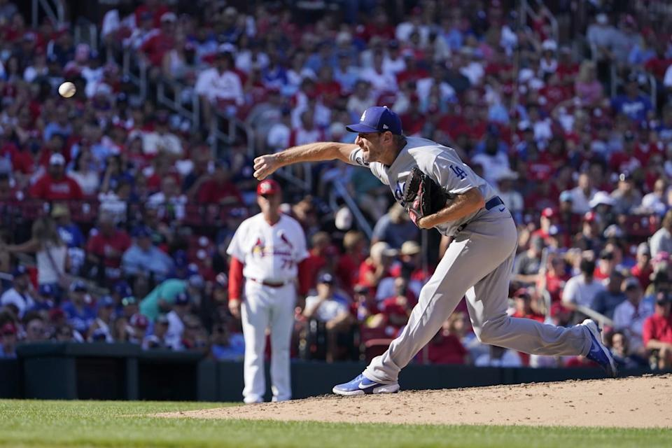 Dodgers pitcher Max Scherzer throws during the fourth inning against the St. Louis Cardinals Monday.