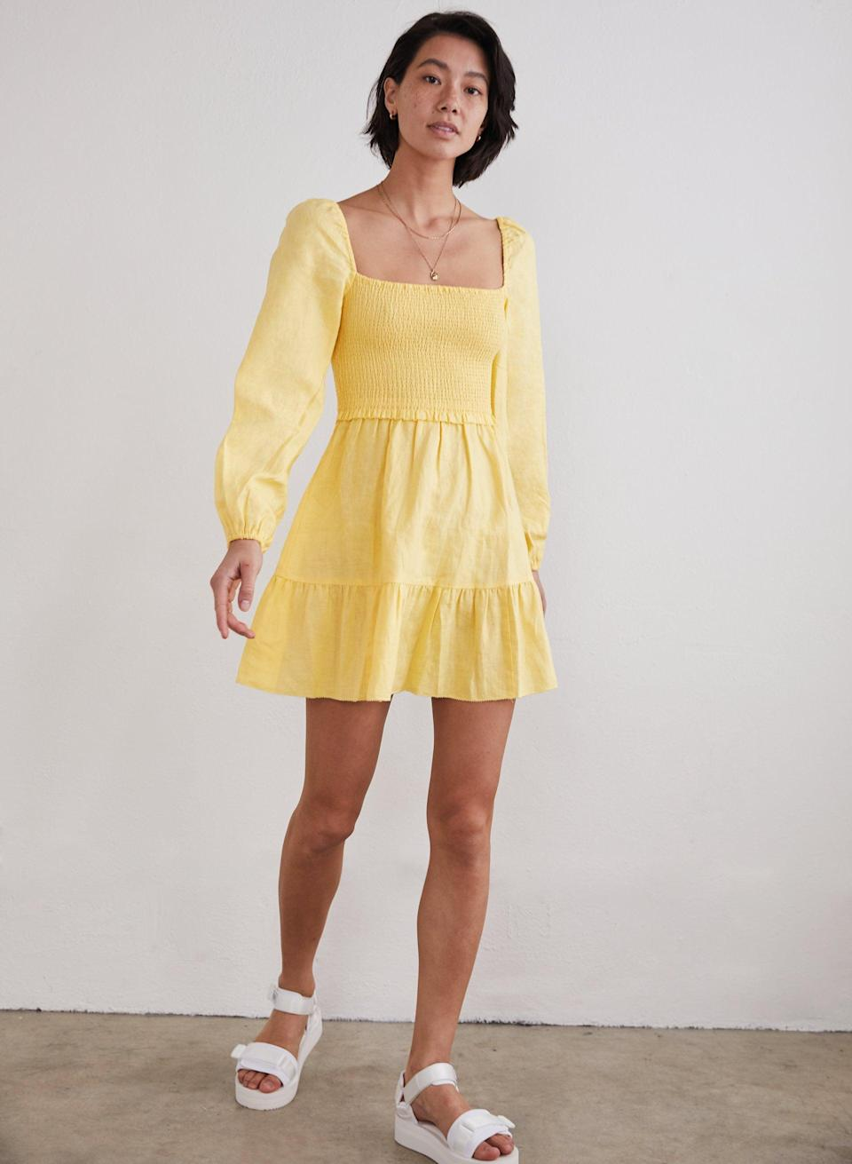 <p>Smocked dresses take us back to the '90s this year, mostly decorating the bodice of a dress, but oftentimes inspiring gathered fabric on the skirt, too. Chances are you've already seen crop top versions of the look making the rounds on TikTok.</p> <p><span>Wilfred Tempest Dress</span> ($168)</p>