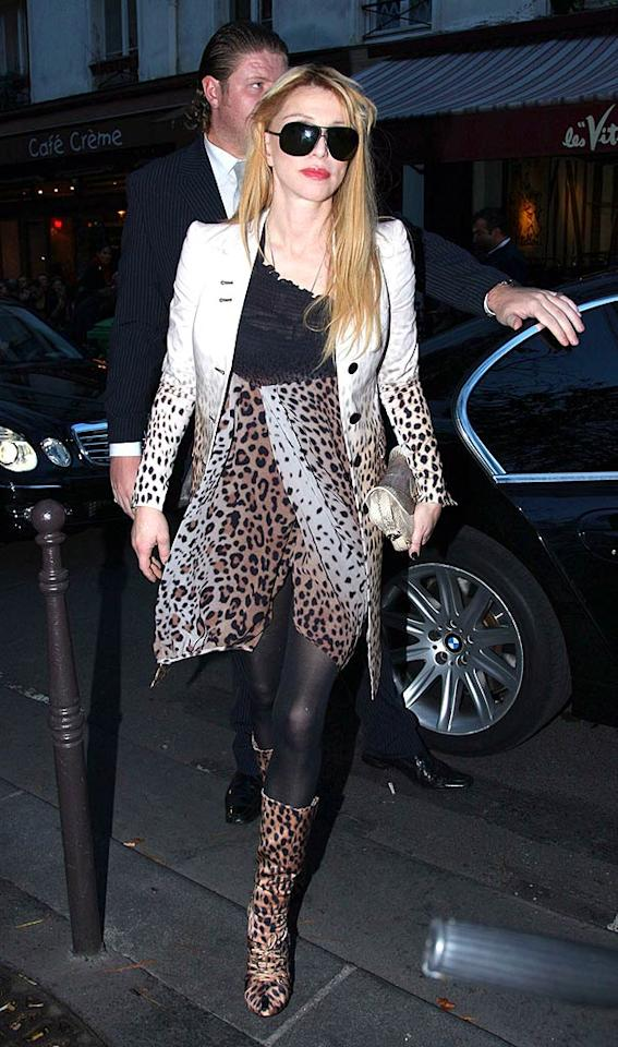 "Courtney Love actually wore this hideous getup to the Givenchy Fashion Show in Paris earlier this year. The rocker has always struggled with her style, but we'd prefer to see her re-embrace her grunge past, even if it means seeing her in flannel. KCS/<a href=""http://www.splashnewsonline.com"" target=""new"">Splash News</a> - October 4, 2007"
