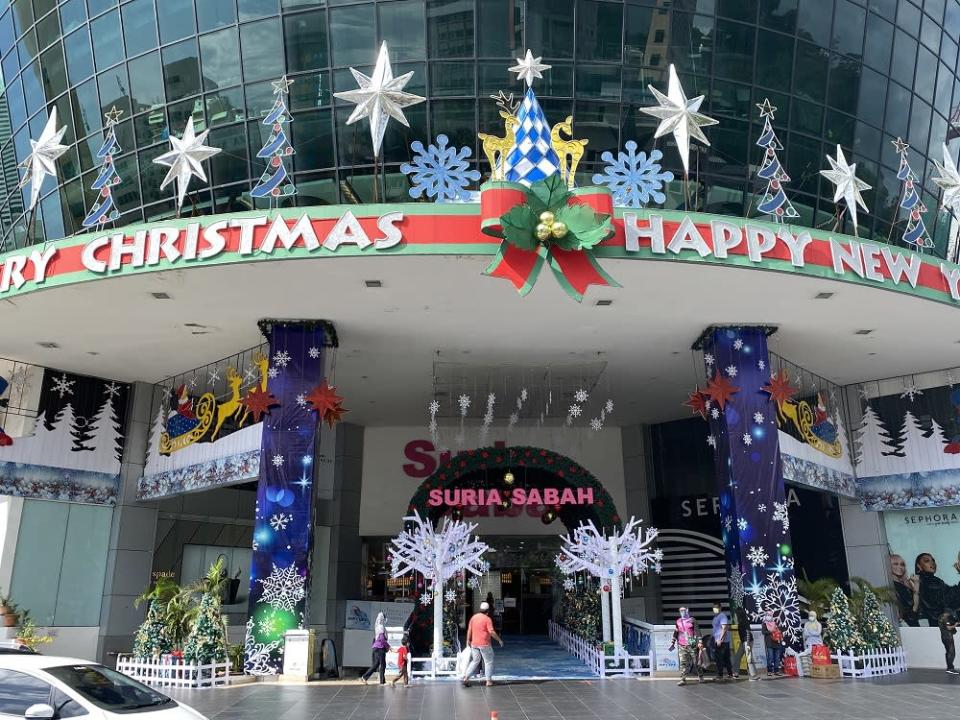 Some malls in Kota Kinabalu have gone all out with the season's decorations in the last days of 2020. ― Picture by Julia Chan