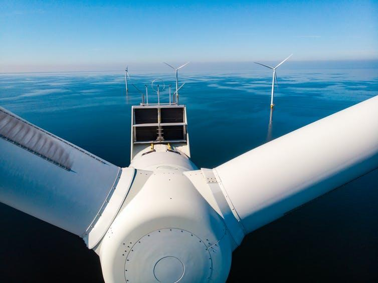Offshore wind farm from above.