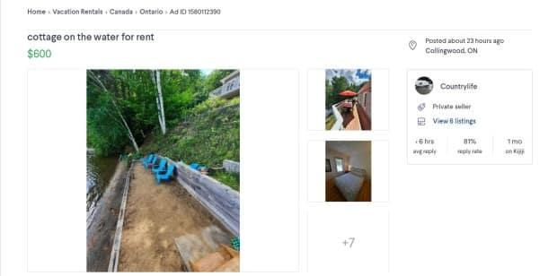 Toronto resident Pat Fiorino responded to this fraudulent Kijiji ad for a Collingwood cottage rental in August. (Pat Fiorino/Supplied - image credit)