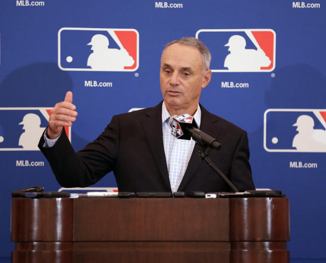 MLB Players Association executive director Tony Clark met with commissioner Rob Manfred (above) and deputy commissioner Dan Halem earlier this week to discuss pace of play, according to sources. (AP)