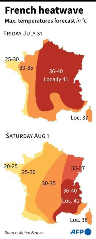 Map of France giving heatwave warnings per region for July 31 - Aug 1