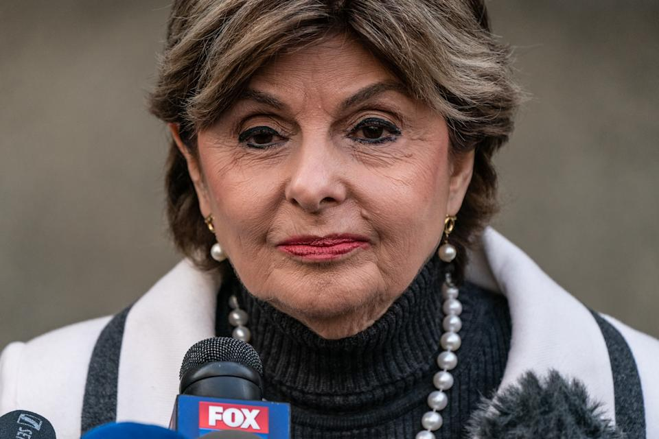 NEW YORK, NY - MARCH 11: Attorney Gloria Allred speaks to press members after the sentencing of Hollywood mogul Harvey Weinstein in New York Criminal Court on March 11, 2020 in New York City. Harvey Weinstein was sentenced to 23 years in prison after being convicted of rape and criminal sexual assault. (Photo by Jeenah Moon/Getty Images)