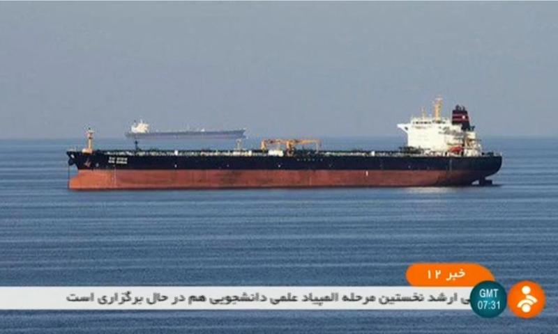 A screen grab from Iranian state TV reportedly showing the two tankers involved in an incident in the Gulf of Oman