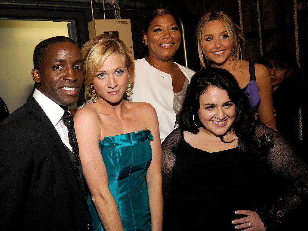 "The cast of ""Hairspray"" (Elijah Kelley, Brittany Snow, Queen Latifah, Amanda Bynes, and Nikki Blonsky) took home the award for ""Best Acting Ensemble,"" while Nikki won ""Best Young Actress"" for her performance as Tracy Turnblad in the musical. Kevin Mazur/<a href=""http://www.wireimage.com"" target=""new"">WireImage.com</a> - January 7, 2008"