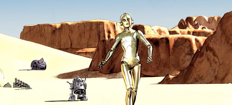 """This comic book image provided by Dark Horse Comics shows characters C-3PO, right, and R2-D2 from """"The Star Wars,"""" from the eight-issue mini-series, a 1974 first draft by George Lucas that turned into the popular film. Now, starting Wednesday, Sept. 4, 2013, Dark Horse Comics is bringing the original script to life as an eight-issue mini-series — with Lucas' blessing — giving fans a different take on the characters. (AP Photo/Dark Horse Comics)"""