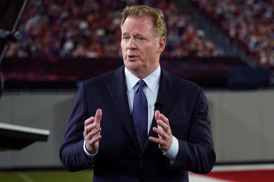 NFL commissioner Roger Goodell will announce picks for the 2021 NFL draft on April 29 in Cleveland, with fans in attendance. (AP Photo/Charlie Riedel, File)