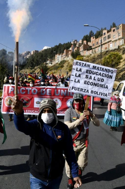 Protesters defying quarantine restrictions during a march against government policies from El Alto to La Paz, Bolivia