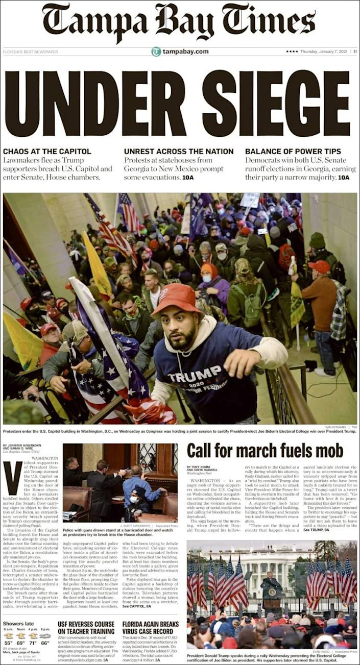 Front page of the Tampa Bay Times on Thursday