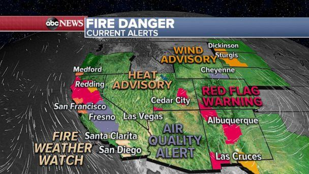 PHOTO: There are fire weather watches and red flag warnings issued for parts of California, Utah and New Mexico due to the increasing dry and windy conditions. (ABC News)