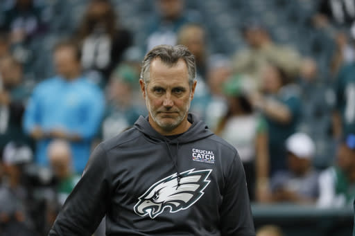 Philadelphia Eagles' Cory Undlin is seen during an NFL football game against the New York Jets, Sunday, Oct. 6, 2019, in Philadelphia. (AP Photo/Michael Perez)