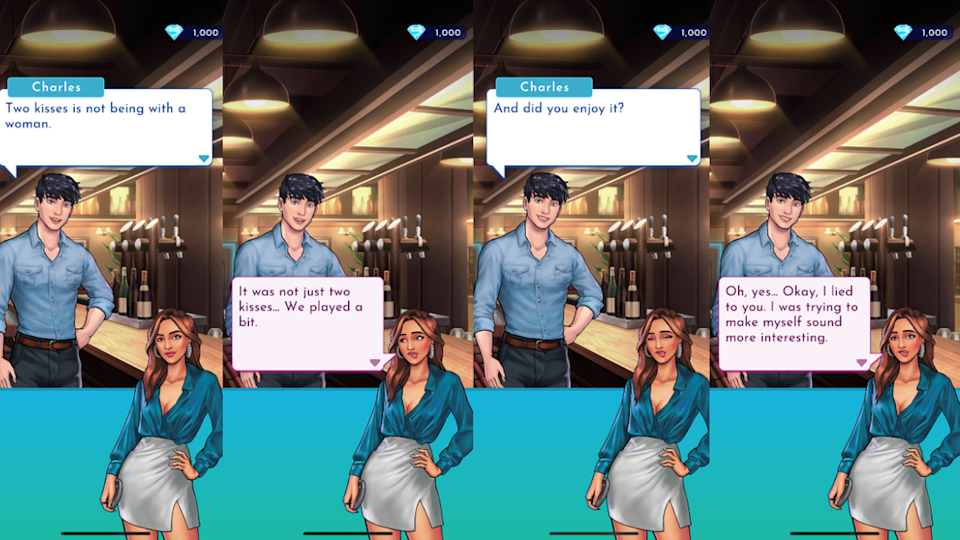 'A conversation in Fusebox Games' Matchmaker app, in which the character pretends they are bisexual to seem 'more interesting' (Fusebox Games)