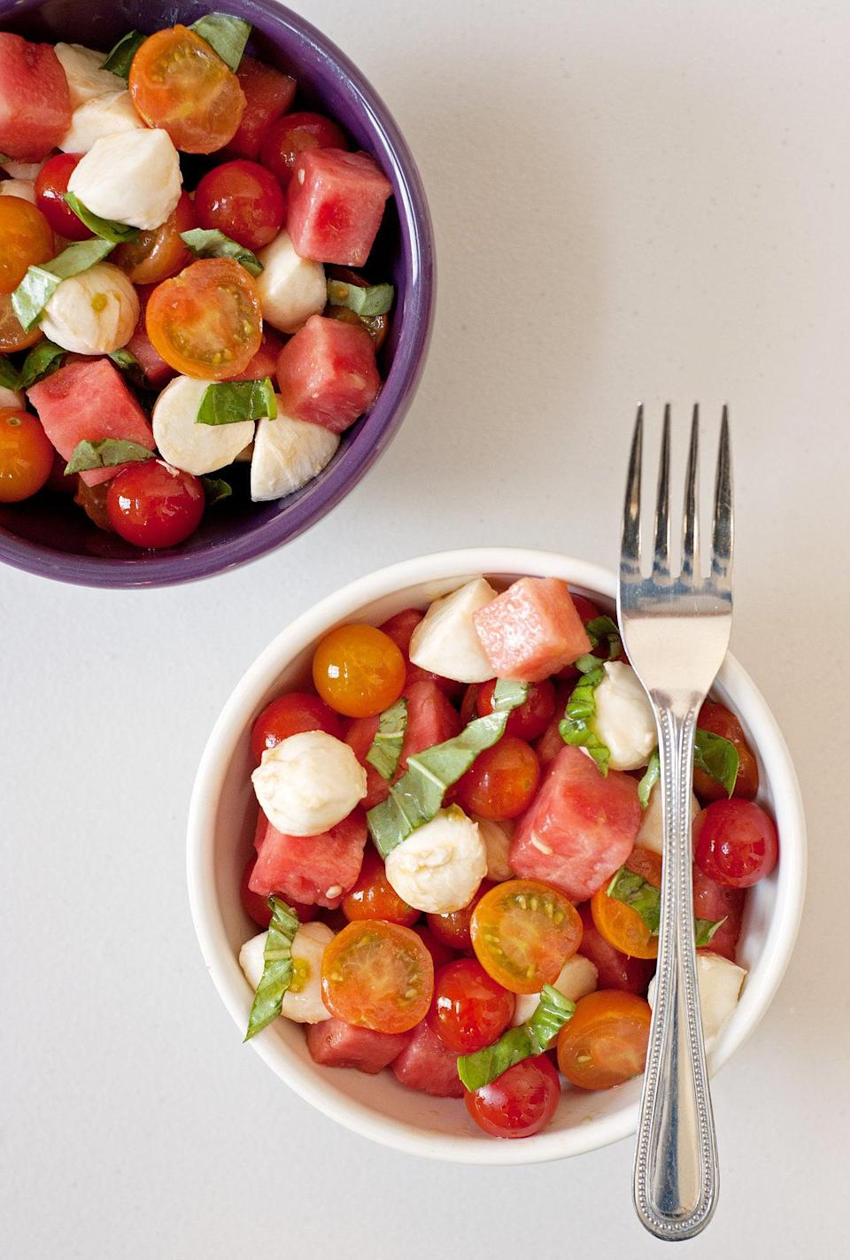 "<p><strong>Get the recipe:</strong> <a href=""https://www.popsugar.com/food/Watermelon-Caprese-Salad-30950320"" class=""link rapid-noclick-resp"" rel=""nofollow noopener"" target=""_blank"" data-ylk=""slk:watermelon caprese salad"">watermelon caprese salad</a></p>"