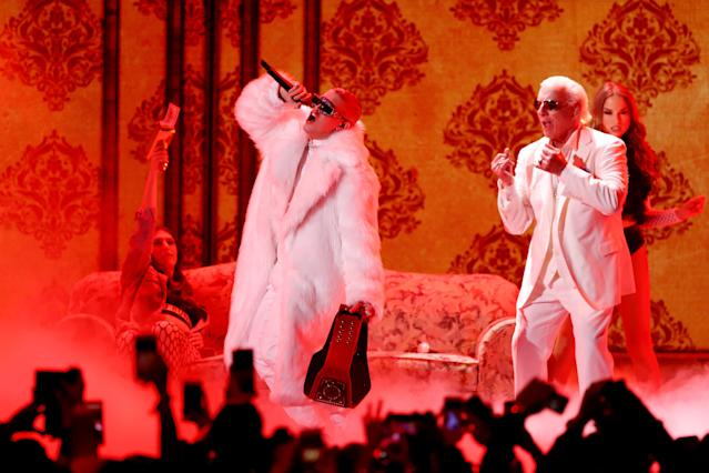 Bad Bunny performs onstage during Univision's 30th Edition Of 'Premio Lo Nuestro A La Musica Latina' at American Airlines Arena on February 22, 2018 in Miami, Florida. (Photo by John Parra/Getty Images)