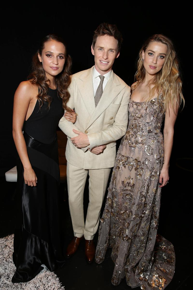 EXCLUSIVE - Alicia Vikander, Eddie Redmayne and Amber Heard at the Focus Features 'The Danish Girl' Premiere at 2015 Toronto International Film Festival on Saturday, September 12, 2015, in Toronto, Canada. (Photo by Eric Charbonneau/Invision for Focus Features/AP Images)