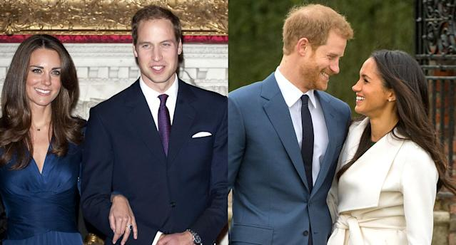 Kate Middleton and Prince William; Prince Harry and Meghan Markle. (Photos: Getty Images)