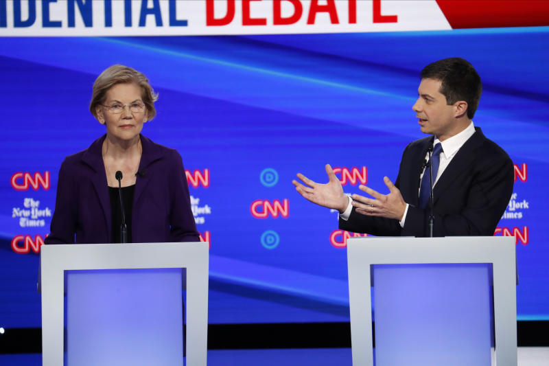 Sen. Elizabeth Warren and South Bend, Ind., Mayor Pete Buttigieg debate on Oct. 15, in Westerville, Ohio. (Photo: John Minchillo/AP)