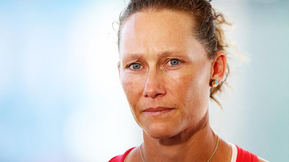 Sam Stosur,. pictured here speaking to media ahead of the Brisbane International.