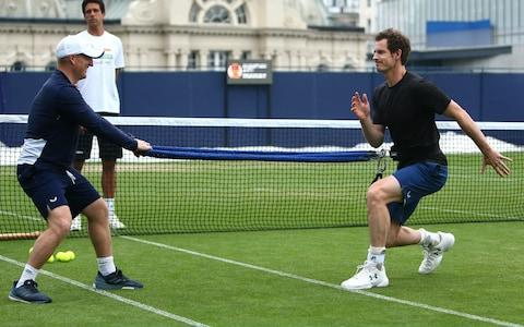 <span>Murray goes through his preparations for Eastbourne this week</span> <span>Credit: Getty Images </span>