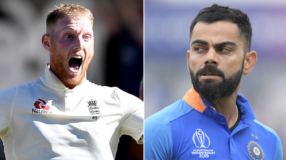 Ben Stokes (pictured left) celebrating a wicket and Virat Kohli (pictured right) walking.