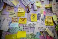 One of Hong Kong's remaining 'Lennon Walls' which show notes in support of the pro-democracy protests