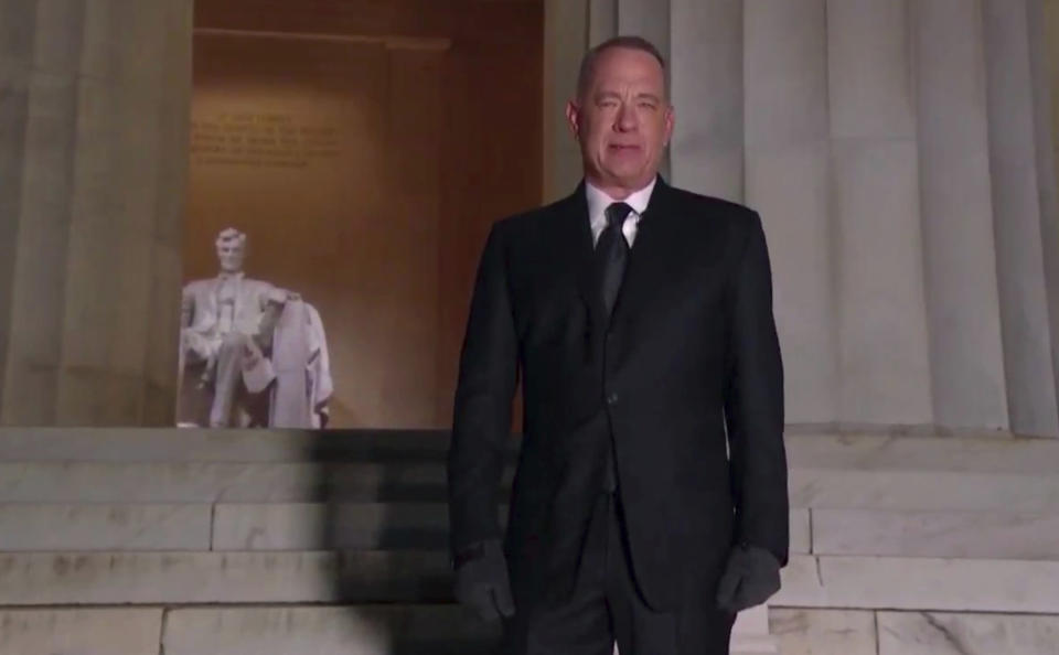 In this image from video, Tom Hanks speaks during the Celebrating America event on Wednesday, Jan. 20, 2021, following the inauguration of Joe Biden as the 46th president of the United States. (Biden Inaugural Committee via AP)