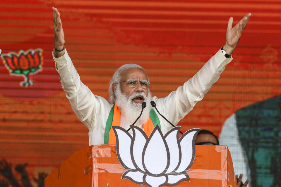 India's prime minister Narendra Modi addresses a public rally ahead of West Bengal state elections in Kolkata, India, on 7 March. Photo: Bikas Das/AP