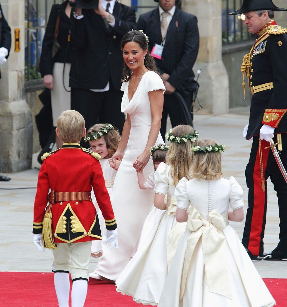 <p>The four bridesmaids wore head wreaths made of Lily Of The Valley flowers and ivy, which the bridge chose as a tribute to her parents as her mother Carole wore one just like it on her own wedding day to Michael Middleton in 1981.</p>