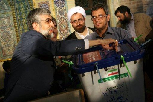 Gholam Ali Haddad Adel casts his ballot in Iran's parliamentary election in 2008. May 23 talks in Baghdad between Iran and world powers on Tehran's nuclear programme will likely not resolve all issues, says Hadad Adel, an aide to Iran's supreme leader