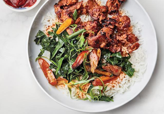 "<h1 class=""title"">Spicy Pork Bowl with Greens and Carrots</h1> <cite class=""credit"">Photo by Chelsie Craig</cite>"