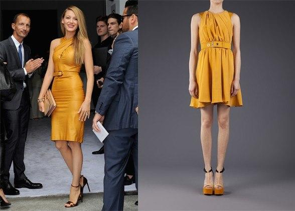 """<div class=""""caption-credit""""> Photo by: Courtesy of Getty Images, farfetch.com</div><div class=""""caption-title""""></div>Blake Lively In Gucci. <br> belted dress, $403.50, kenzo, farfetch.com <br> <b>More from <i>Lucky</i>:</b> <br> <b><a rel=""""nofollow"""" target="""""""" href=""""http://www.luckymag.com/beauty/2011/12/40-Drugstore-Classics?mbid=synd_yshine"""">The 40 Best Drugstore Beauty Products</a> <br> <a rel=""""nofollow"""" target="""""""" href=""""http://www.luckymag.com/blogs/luckyrightnow/2012/09/50-Unique-Engagement-Rings?mbid=synd_yshine"""">50 Unique Engagement Rings</a></b> <br>"""