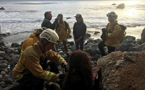 Rescuers say the women is extremely lucky to have survived - Credit: Reuters