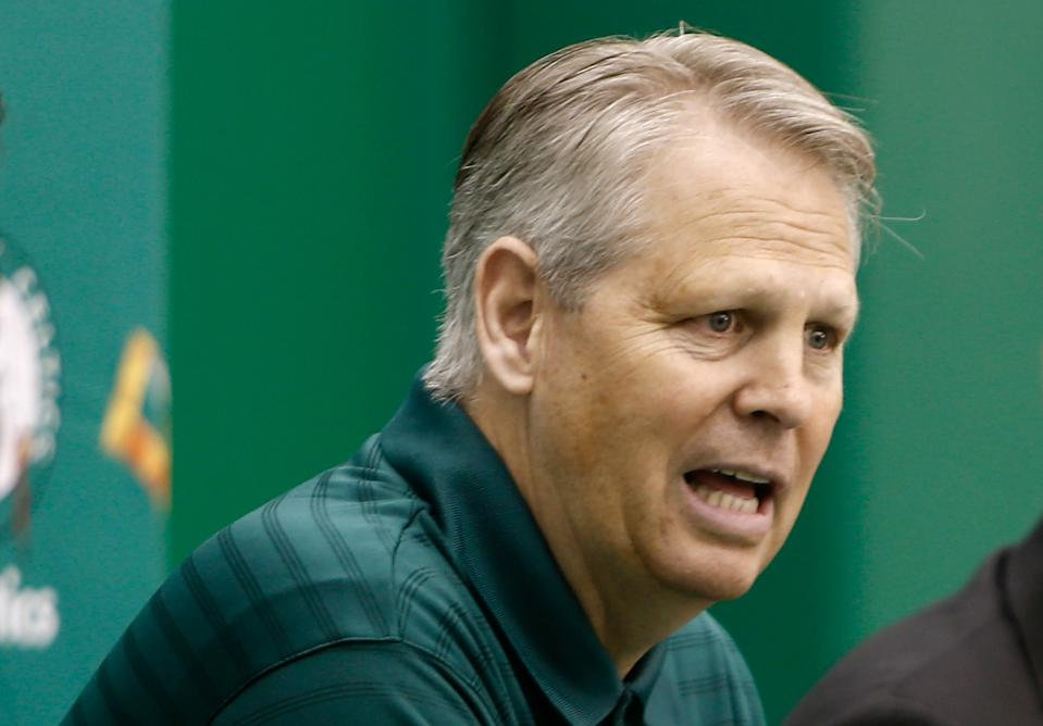 Jul 5, 2013; Waltham, MA, USA; General Manager Danny Ainge during a news conference announcing Stevens new position. Mandatory Credit: Winslow Townson-USA TODAY Sports
