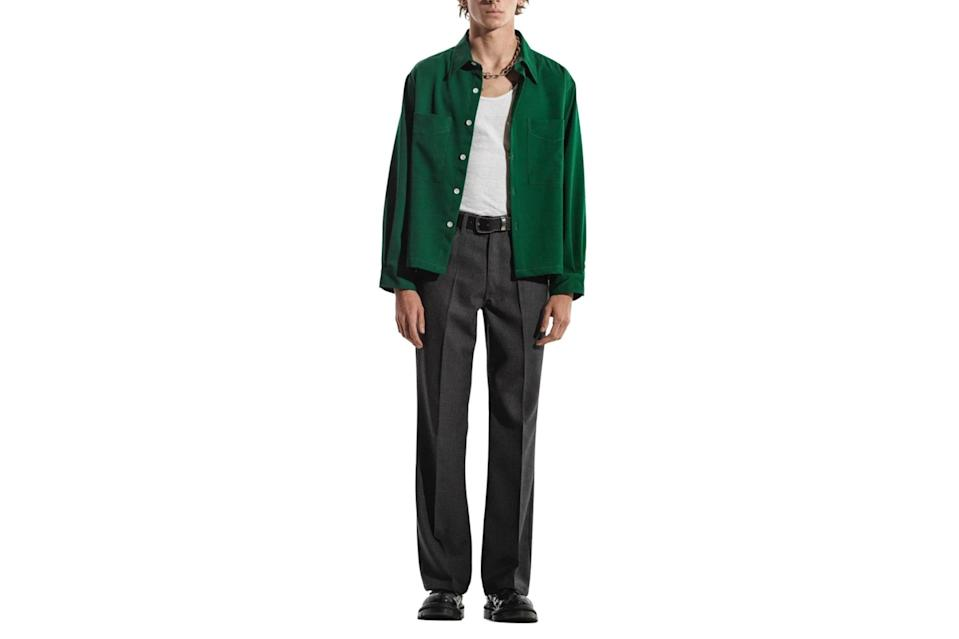 "$360, Second/Layer. <a href=""https://secondlayer.us/products/wide-body-shirt-jacket-green?variant=32180916322406"" rel=""nofollow noopener"" target=""_blank"" data-ylk=""slk:Get it now!"" class=""link rapid-noclick-resp"">Get it now!</a>"