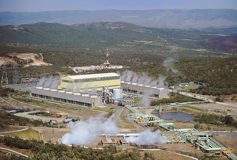 Kenya Generating Company, KenGen's Ol-Karia IV power plant is seen from a vantage point in September 2015 (AFP Photo/Tony Karumba)