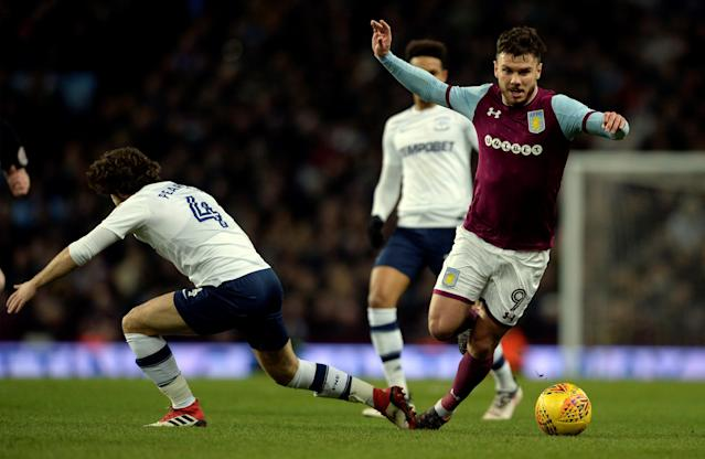 "Soccer Football - Championship - Aston Villa vs Preston North End - Villa Park, Birmingham, Britain - February 20, 2018 Aston Villa's Scott Hogan is fouled by Preston North End's Ben Pearson Action Images/Adam Holt EDITORIAL USE ONLY. No use with unauthorized audio, video, data, fixture lists, club/league logos or ""live"" services. Online in-match use limited to 75 images, no video emulation. No use in betting, games or single club/league/player publications. Please contact your account representative for further details."
