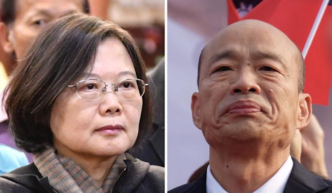 Tsai Ing-wen and her main rival Han Kuo-yu. Photo: AFP
