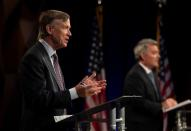 Republican U.S. Sen. Cory Gardner participates with Democratic challenger and former Colorado Gov. John Hickenlooper in the final debate in Fort Collins