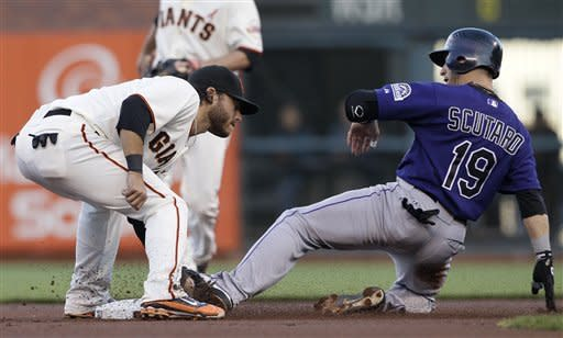 Colorado Rockies' Marco Scutaro (19) is tagged out by San Francisco Giants shortstop Brandon Crawford while trying to steal second base during the first inning of a baseball game in San Francisco, Monday, May 14, 2012. (AP Photo/Jeff Chiu)